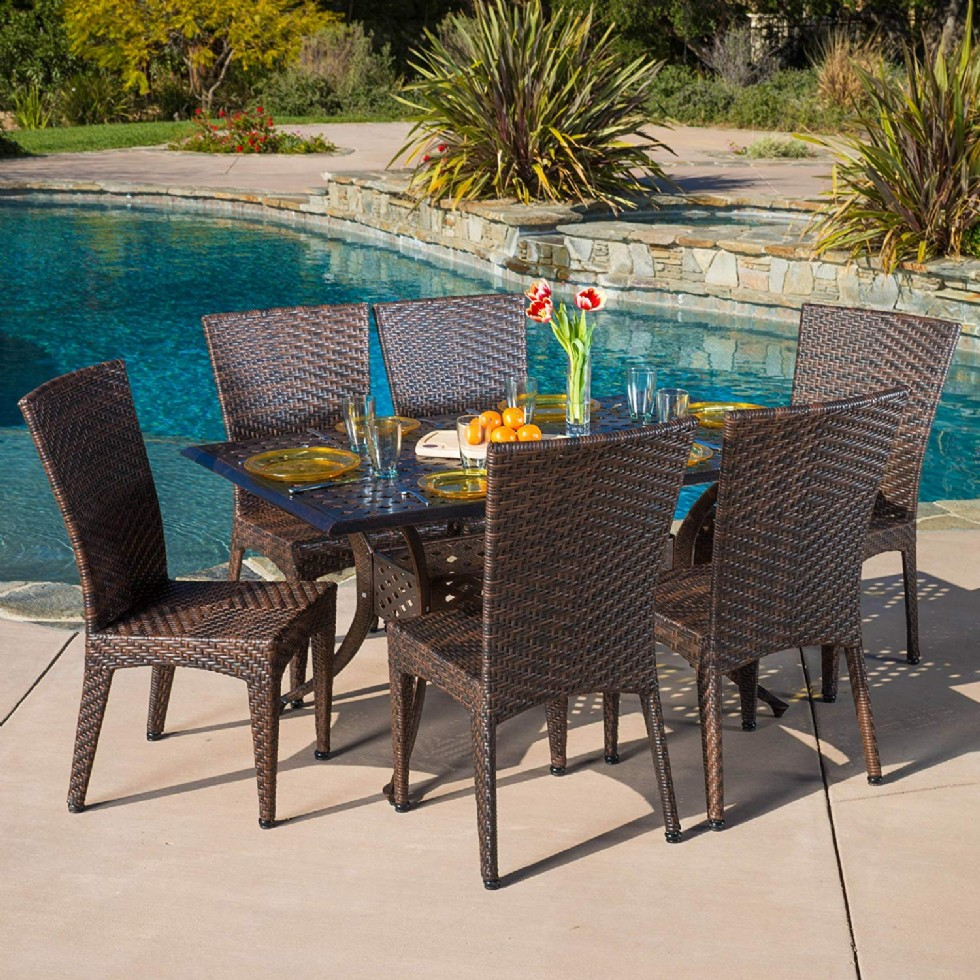 7 Piece Outdoor Wicker Dining Set with Cast Aluminum Table