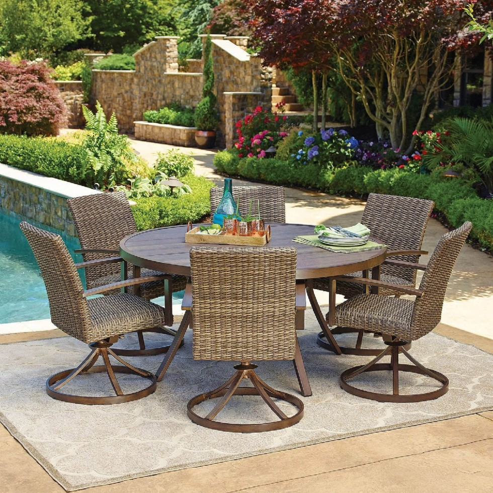 """7pc All-Weather Wicker Outdoor Patio Dining Set w/ 60"""" Round Table"""