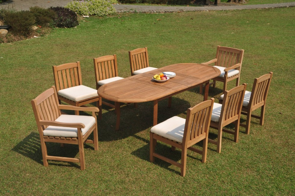 """9pc Grade-A Teak Dining Set 94"""" Oval Table 8 Devon Chair Outdoor Patio"""