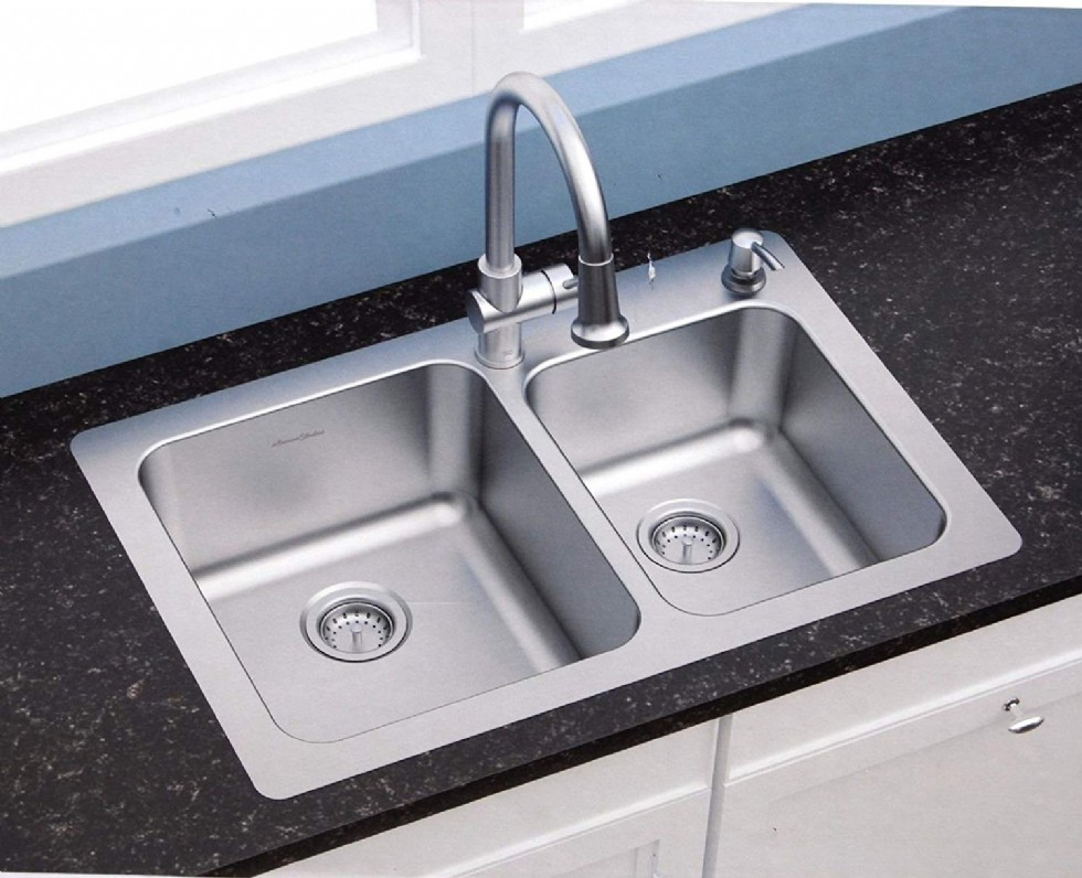 American Standard 18 gauge 33 x 22 Stainless Steel Kitchen Sink with a Stainless Steel pull down Faucet Combo set