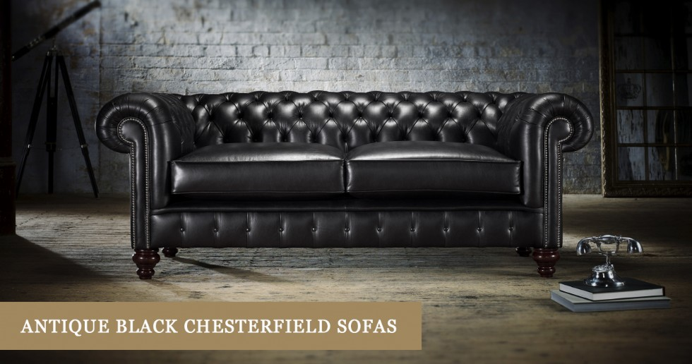 Antique-Look Black Leather Chesterfield Sofa