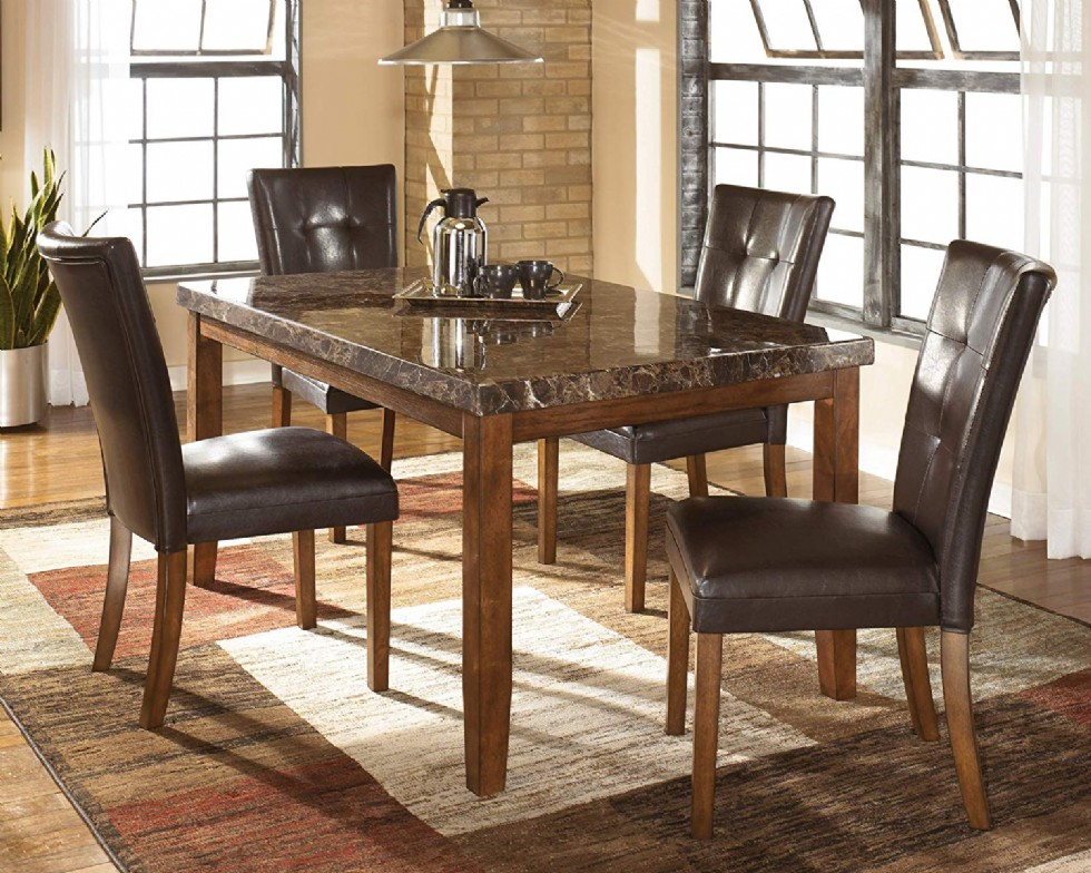 Ashley Furniture Signature Design Lacey Dining Room Table Rectangular Contemporary with Faux Marble Top