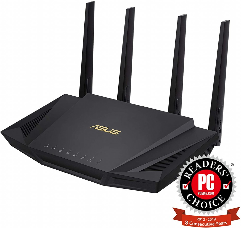 ASUS RT-AX3000 Dual Band WiFi Router, WiFi 6, 802.11ax