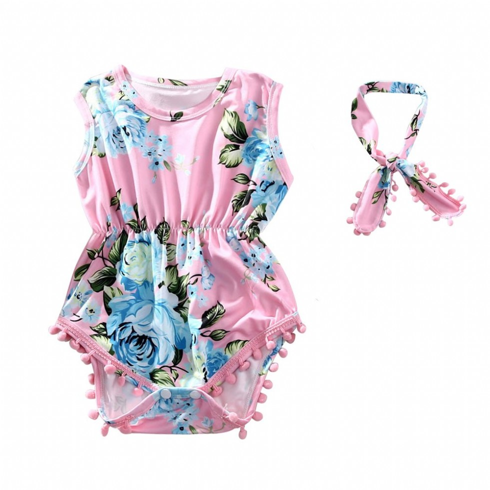 Baby Girl Clothes Newborn Floral Baby Girl Rompers Dresses Outfits Headband