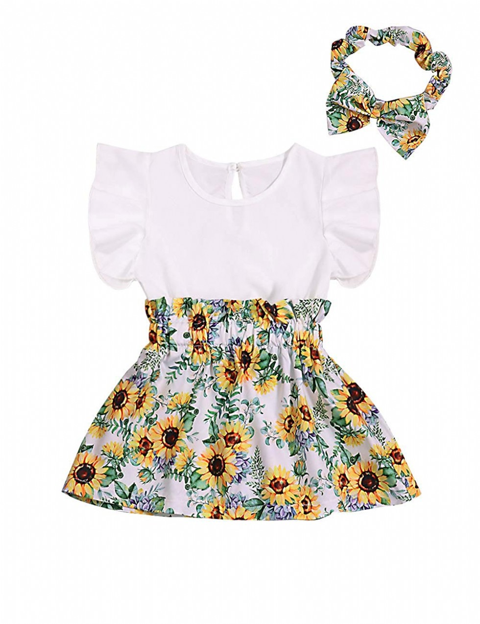 Baby Girl Clothes Ruffle Sleeveless Summer Princess Tutu Sunflower Skirt with Headband Dress Set