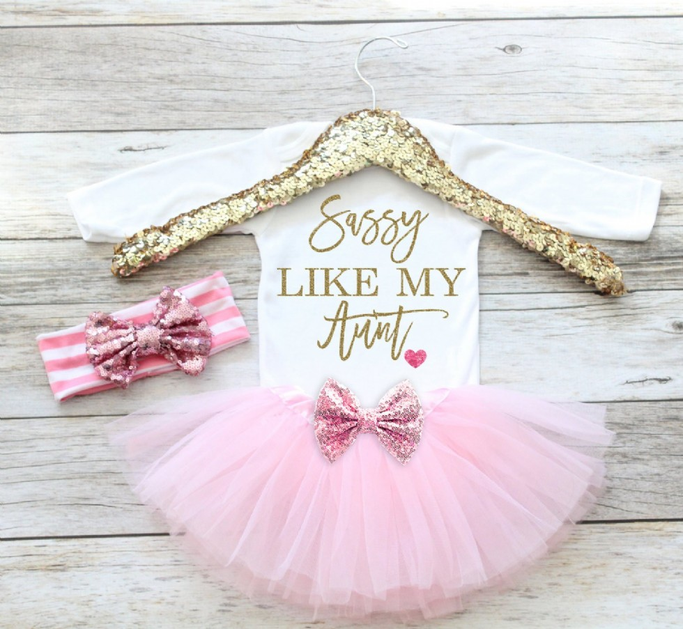 Baby Girl Clothes Sassy Like My Aunt, Newborn Coming Home Outfit, Hospital Outfit, Newborn Baby Gift, Baby shower gift, Tutu set,Baby Girl