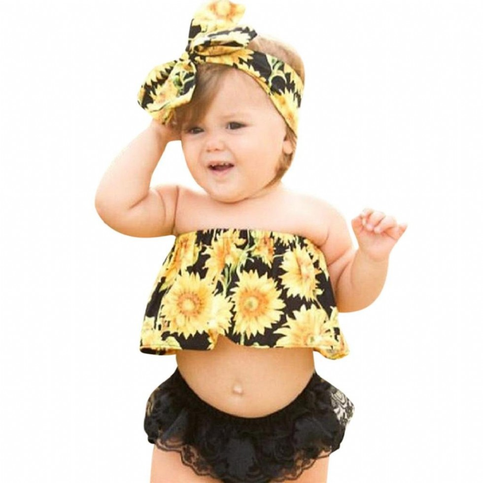Baby Girl Clothes Sets Hosamtel Sunflower Printed Off Shoulder Tops+Lace Ruffles Shorts