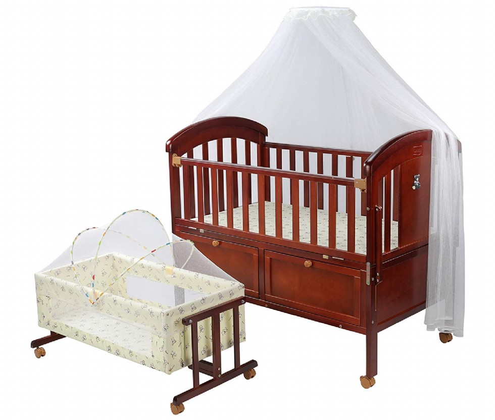 Baby Wooden Cot with Detachable Newborn Cradle (Cherry-Red)