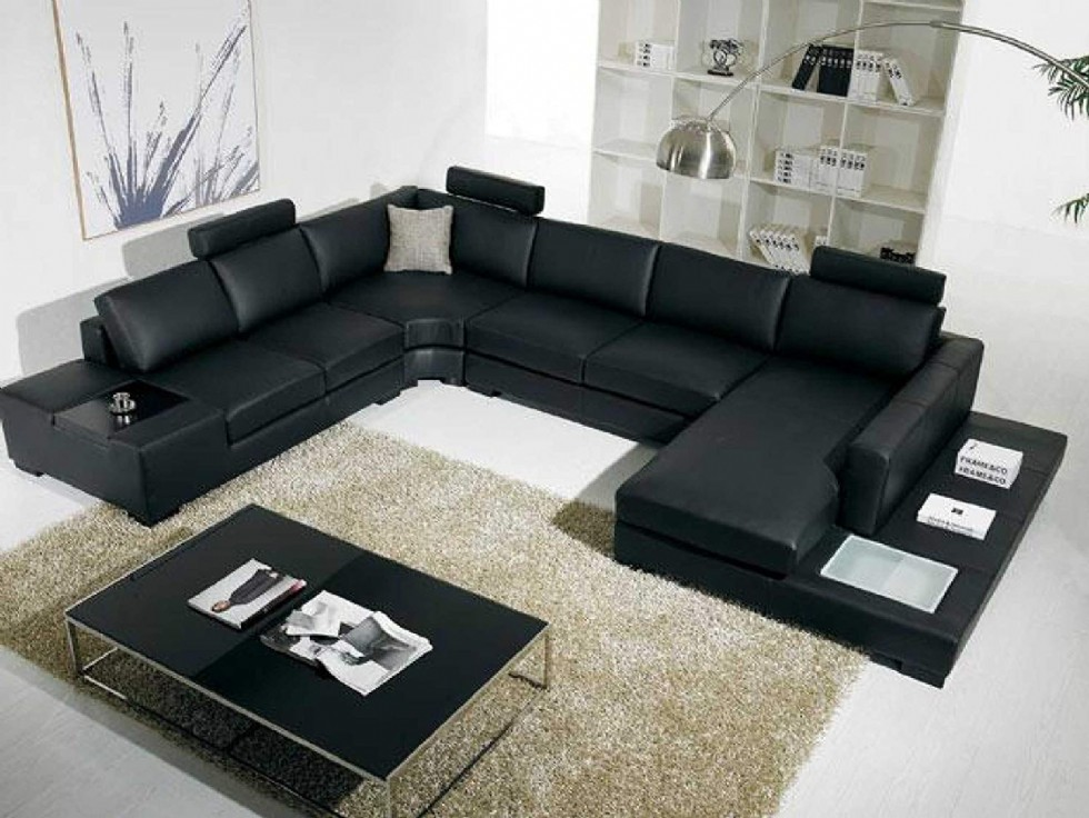 Black Bonded Leather Sectional Sofa with Headrests and Light