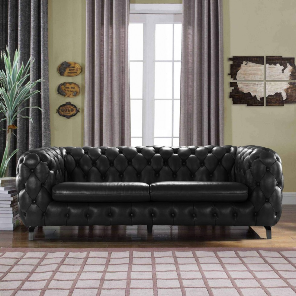 Black Leather Chesterfield Sofa Couch w/Tufted Arms Modern Tufted Wide Top Grain Leather Chesterfield Couch Sofa