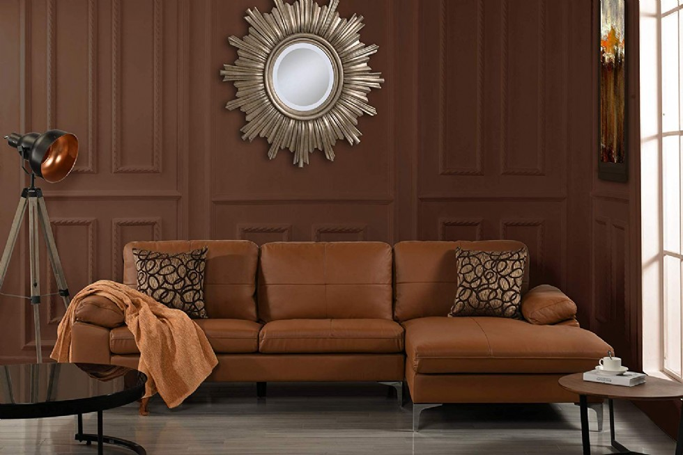 Camel Leather Sectional Sofa, L-Shape Couch with Chaise