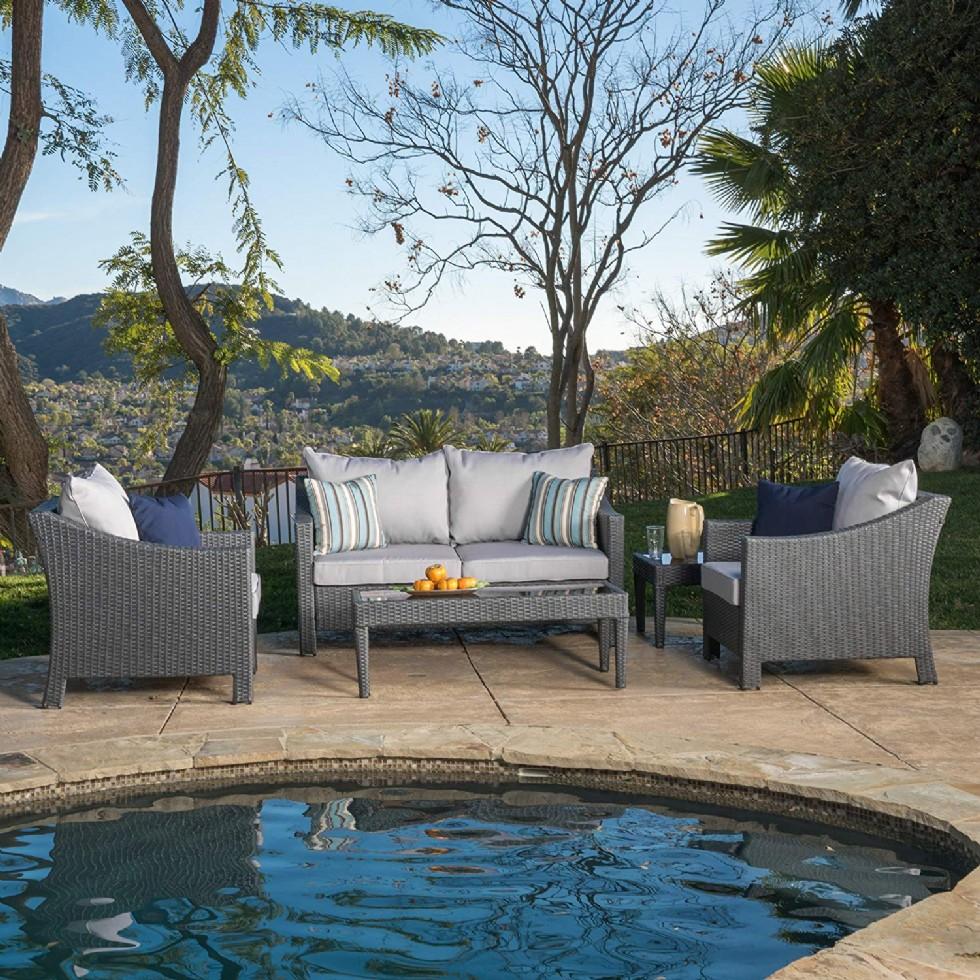 Caspian Grey 4 Piece Outdoor Wicker Furniture Patio Chat Set