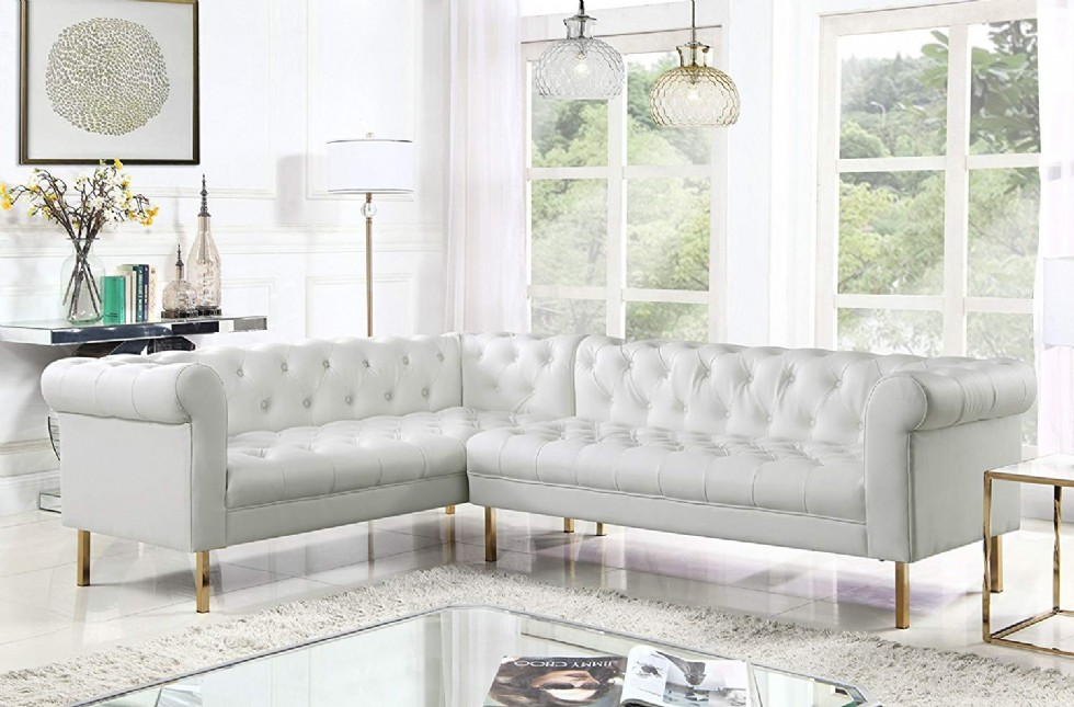 Chesterfield Sectional Sofa L Shape PU Leather Upholstered Button Tufted Roll Arm Design