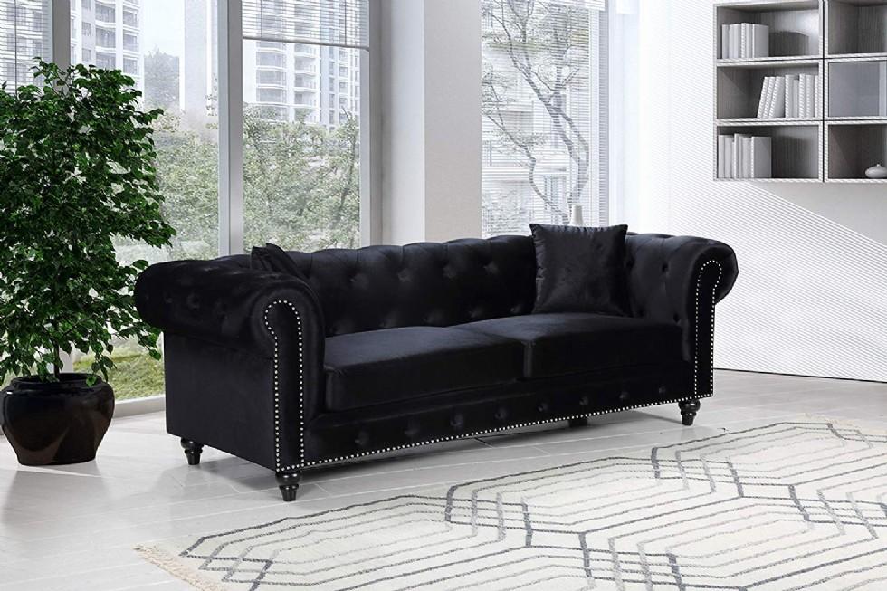 Chesterfield Sofa, Black Velvet
