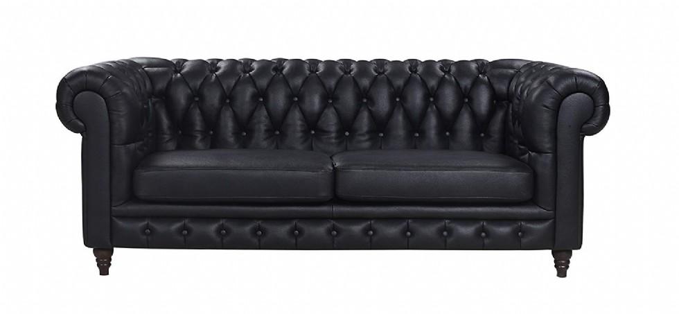 Classic Scroll Arm Real Italian Leather Chesterfield Sofa (Black)