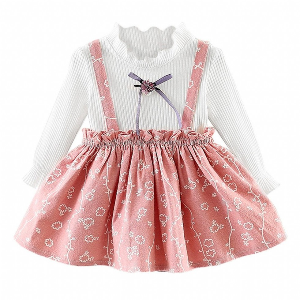 Cute Floral Baby Girls Dresses Newborn Infant Flower Clothes for 0-24 Months Long Sleeve Party Princess Dresses