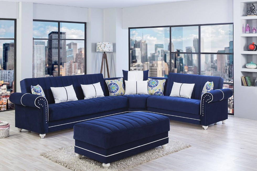 Dark Blue Functional Sectional Sofa Large Size with pouf
