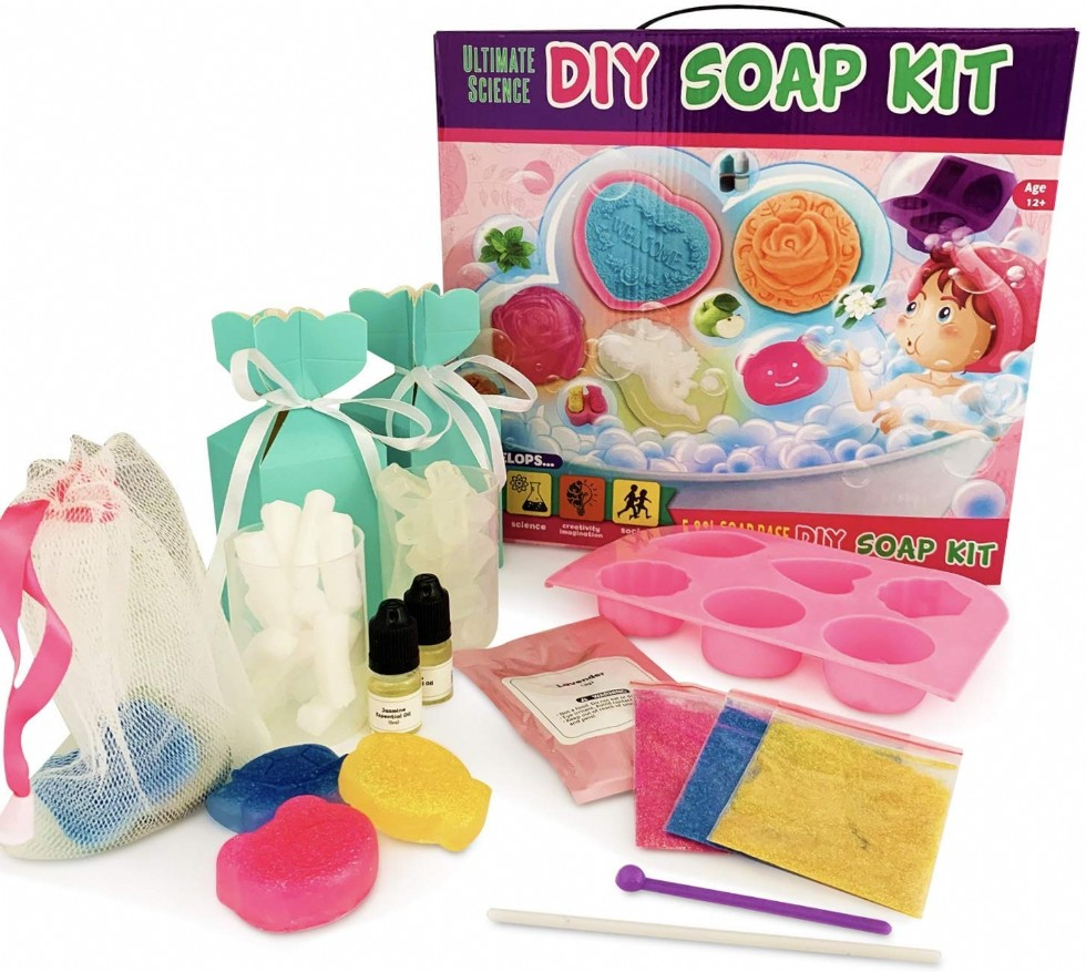 DIY Soap Making Kit - Kids, Make Your Own Soap with Silicon Molds, Ingredients, Tools
