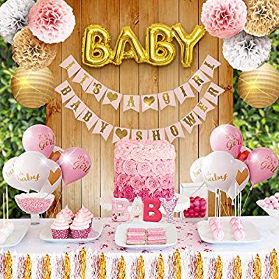 Girl Baby Shower Party Decorations Pink, White and Gold Theme Decor Set with Banners, Balloons, Poms, Lanterns