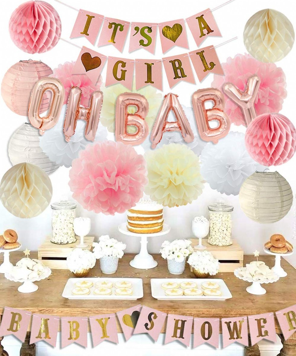 Girls Baby Shower Party Decorations It's A Girl Baby Shower Decorations Kit