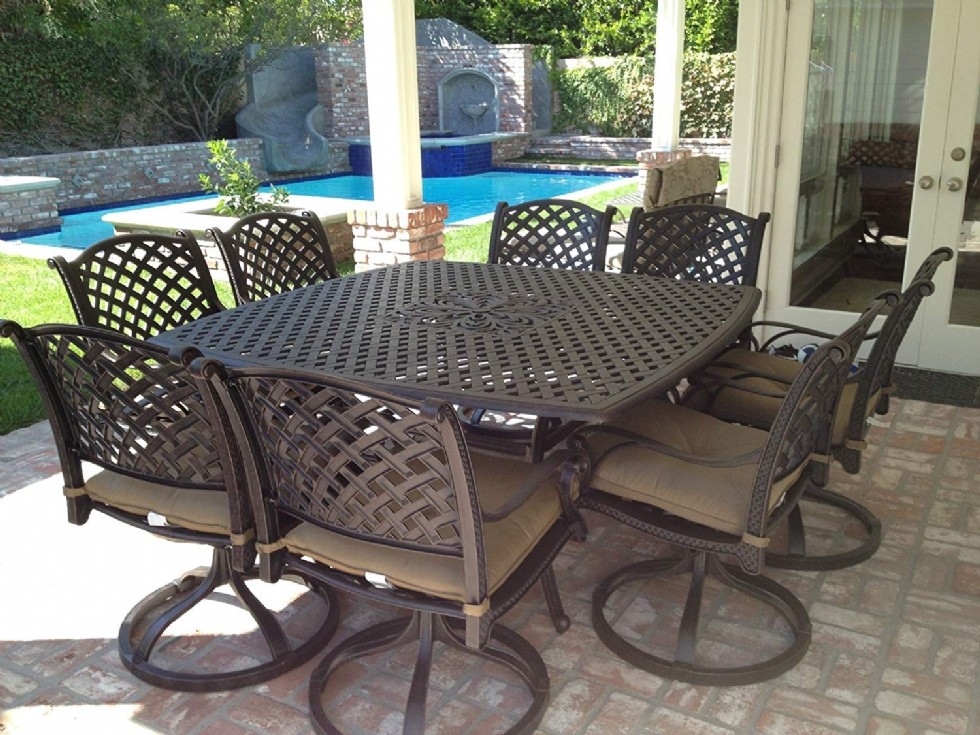 """Heritage Outdoor Living Nassau Cast Aluminum 9pc Outdoor Patio Dining Set with 64""""x64"""" Square Table"""