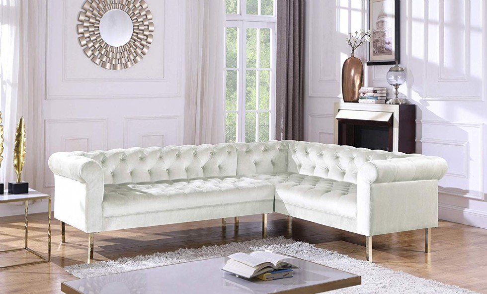 Iconic Home Giovanni Right Facing Sectional Sofa L Shape Velvet Upholstered Button Tufted Roll Arm Design Solid Gold Tone Metal Legs Modern