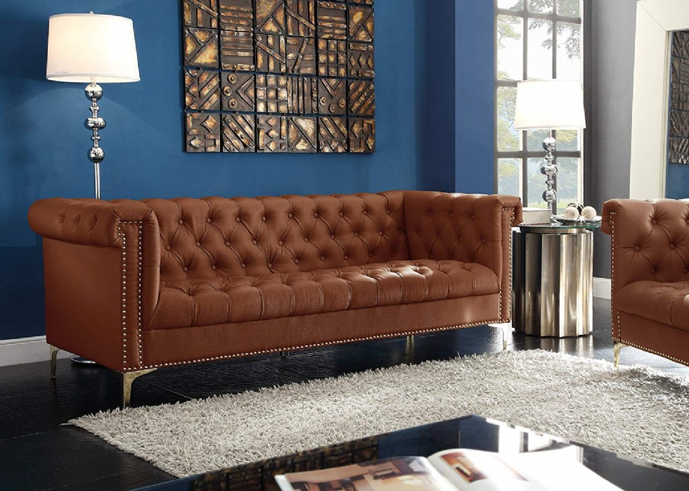 Iconic Home Winston PU Leather Modern Contemporary Button Tufted with Gold Nailhead Trim Gold