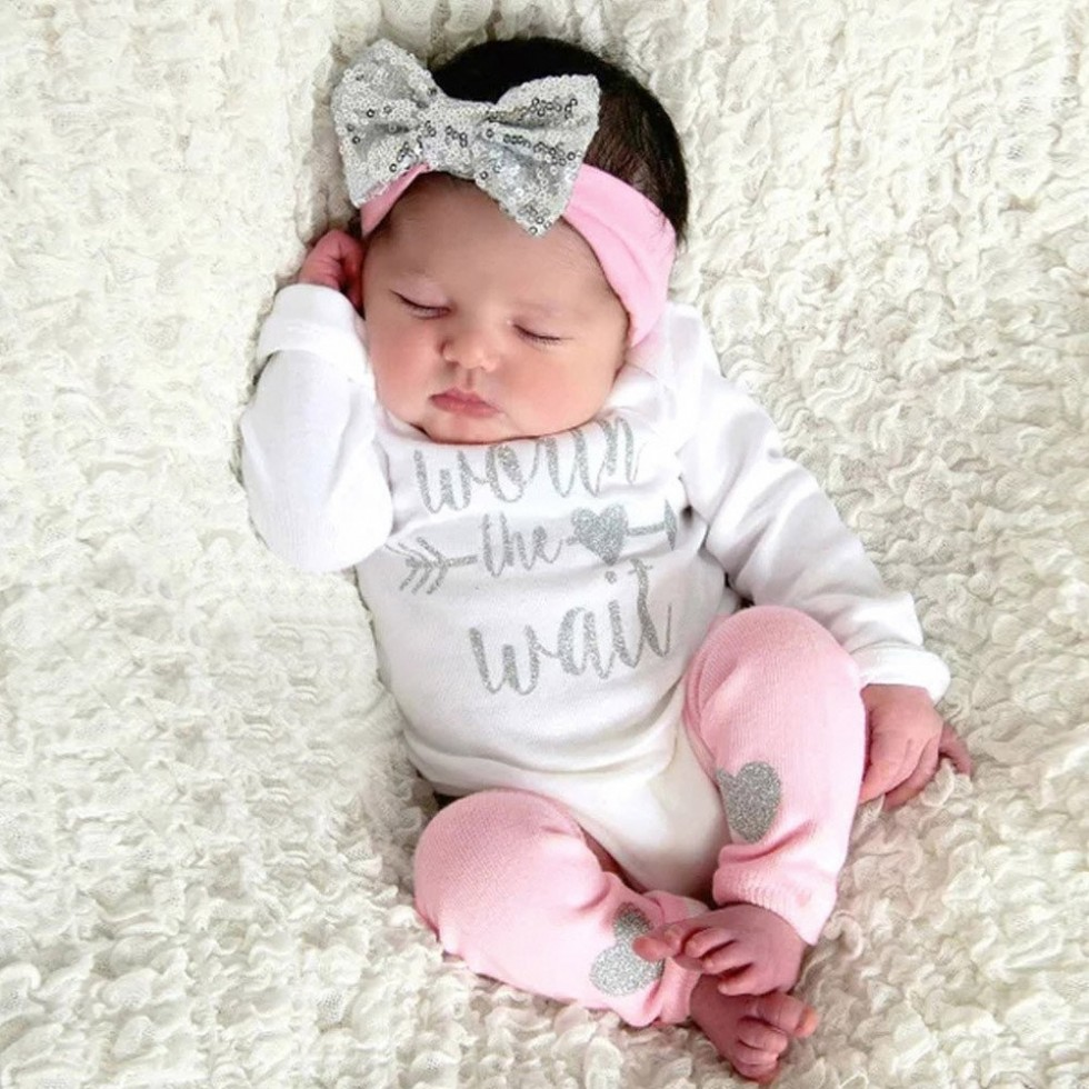 Infant Toddler Newborn Baby Girl Clothes Bling Letter Romper Leg Warmer Headband Clothes Outfits