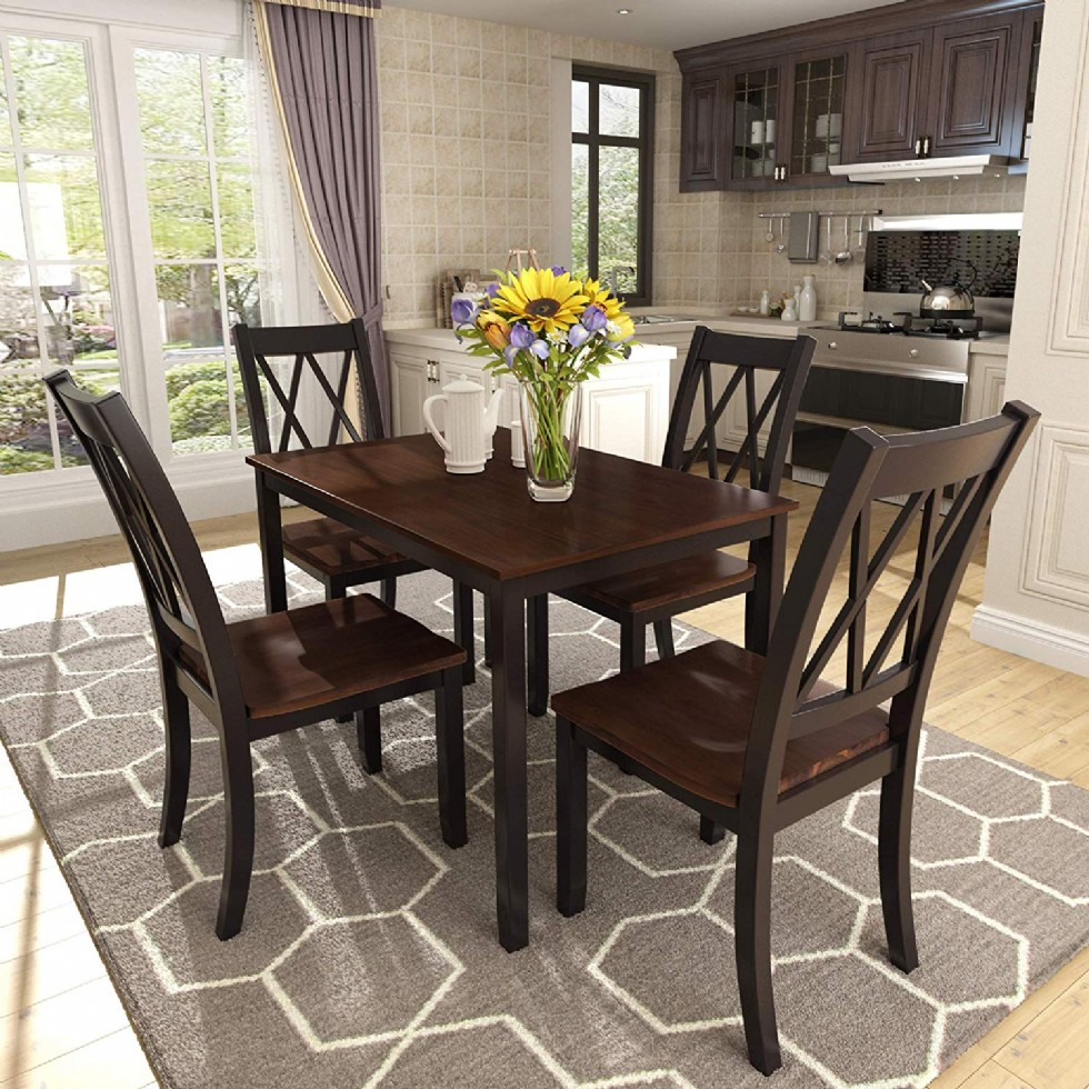 Kitchen Dining Table Set with Wooden Kitchen Table and 4 Chairs Dining Room