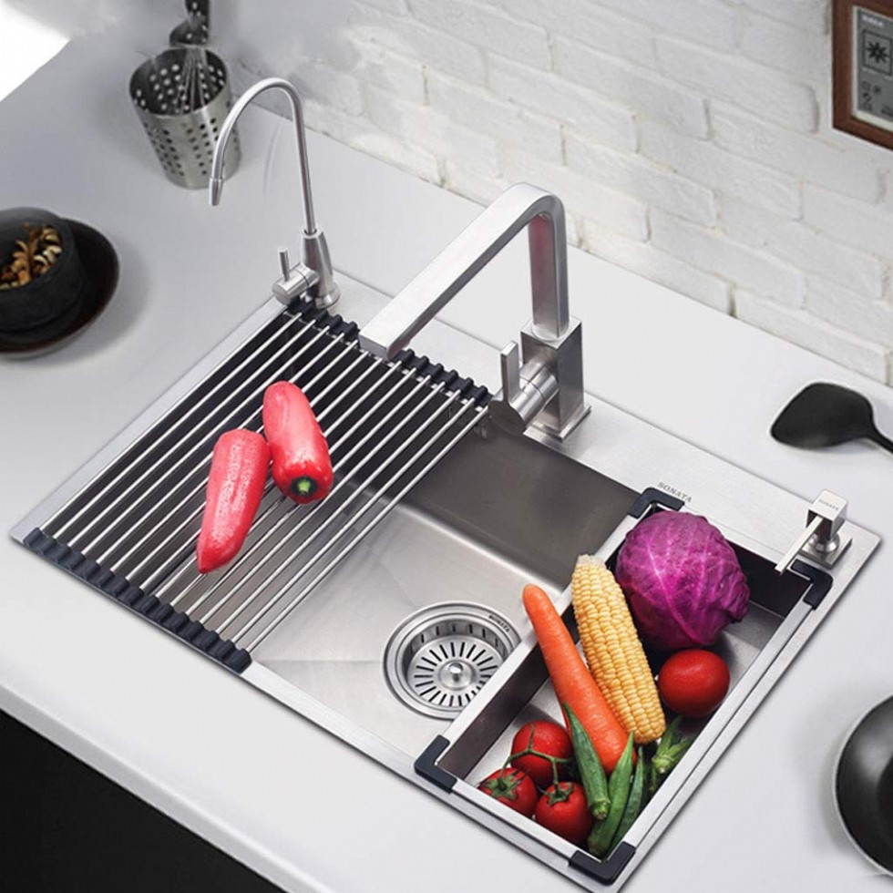 Kitchen Sinks 304 Stainless Steel Thick Handmade Large Single Tank Sink Apron Double Bowl Kitchen Laundry Versatile Sink