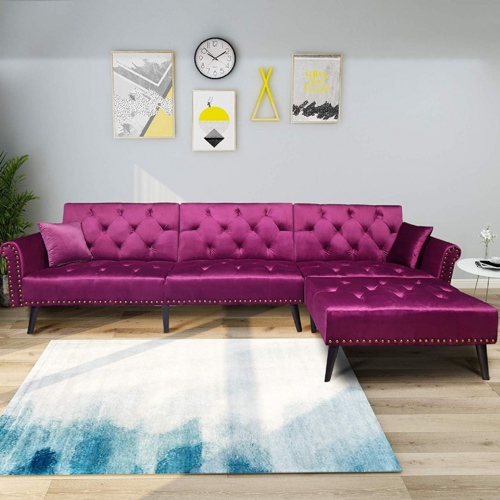 Large Pink Velvet Fabric Modern Sectional Sofa L-Shaped Corner Sofa Couch Sofa Bed Set with Reversible