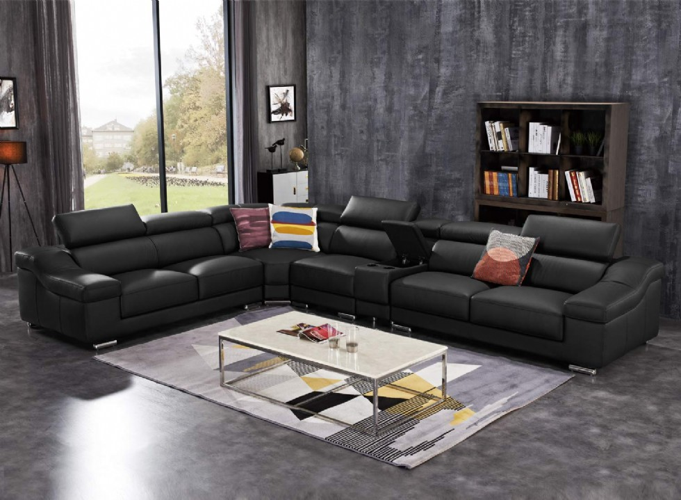 Large Sectional Sofas Living Room Reclining Couches Set Black Leather Corner Sofa