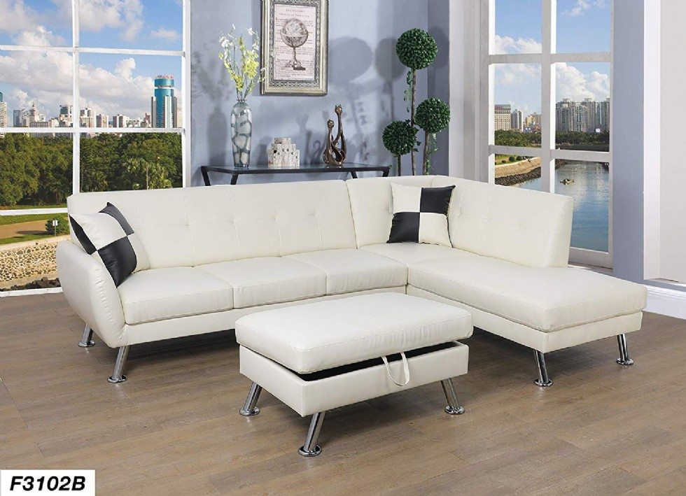 Lifestyle Furniture Right Facing 3PC Sectional Sofa Chaises Set,Faux Leather White