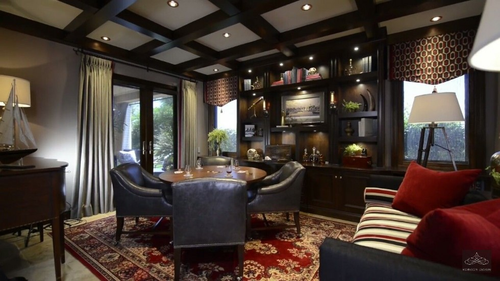 Living Room Design by Rebecca Robeson Design Love the dark finishes and the hints