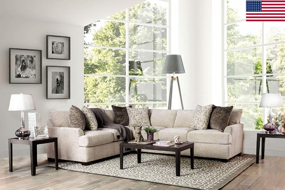 Living Room Furniture Ivory Chenille Fabric Sectional Sofa Set Pillows Comfort Relax Couch Corner Design Made In USA