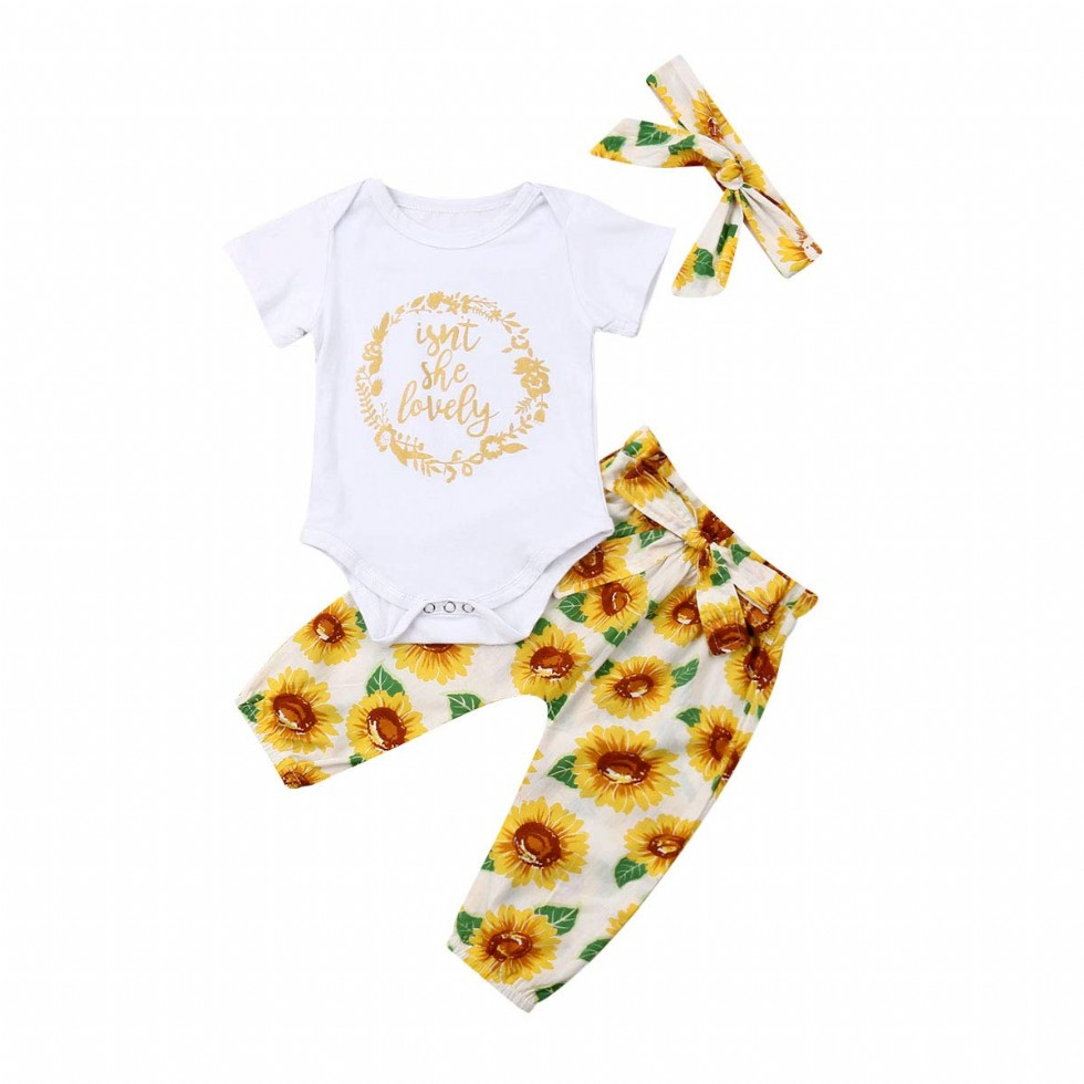 Lovely Baby Girl Clothes Set Floral Romper Bodysuit Tops Sunflowers Pants Outfit Set+ Headband