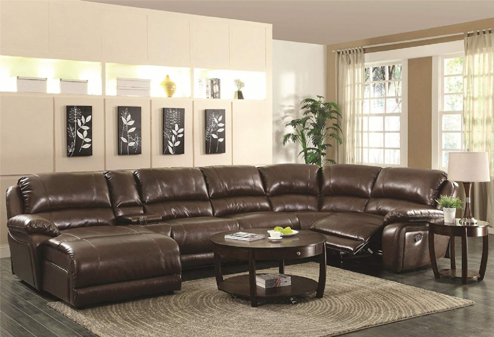 Luxury Large Sectional Sofa, Chestnut Leather Complete your living room or home theater