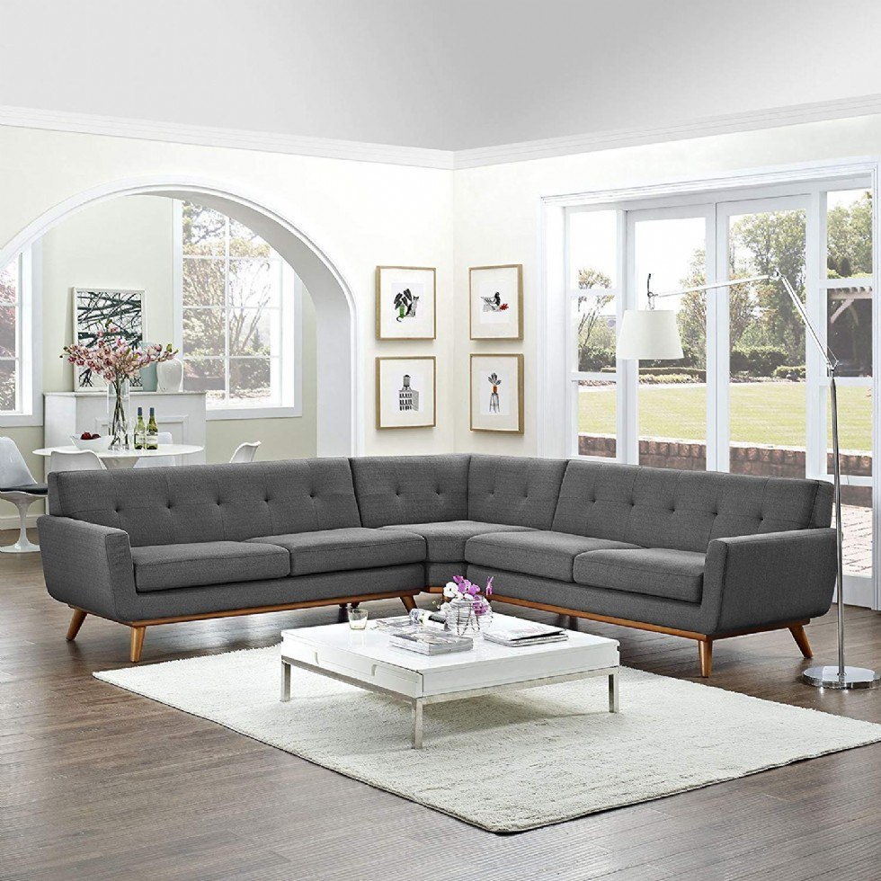 Mid-Century Modern Upholstered Fabric L-Shaped Sectional Sofa In Gray