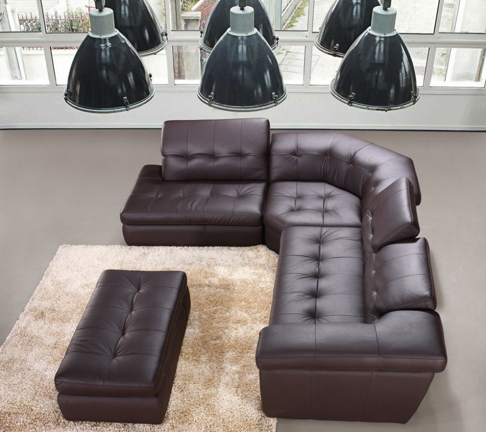 Modern 397 Italian Leather Sectional Sofa in Chocolate