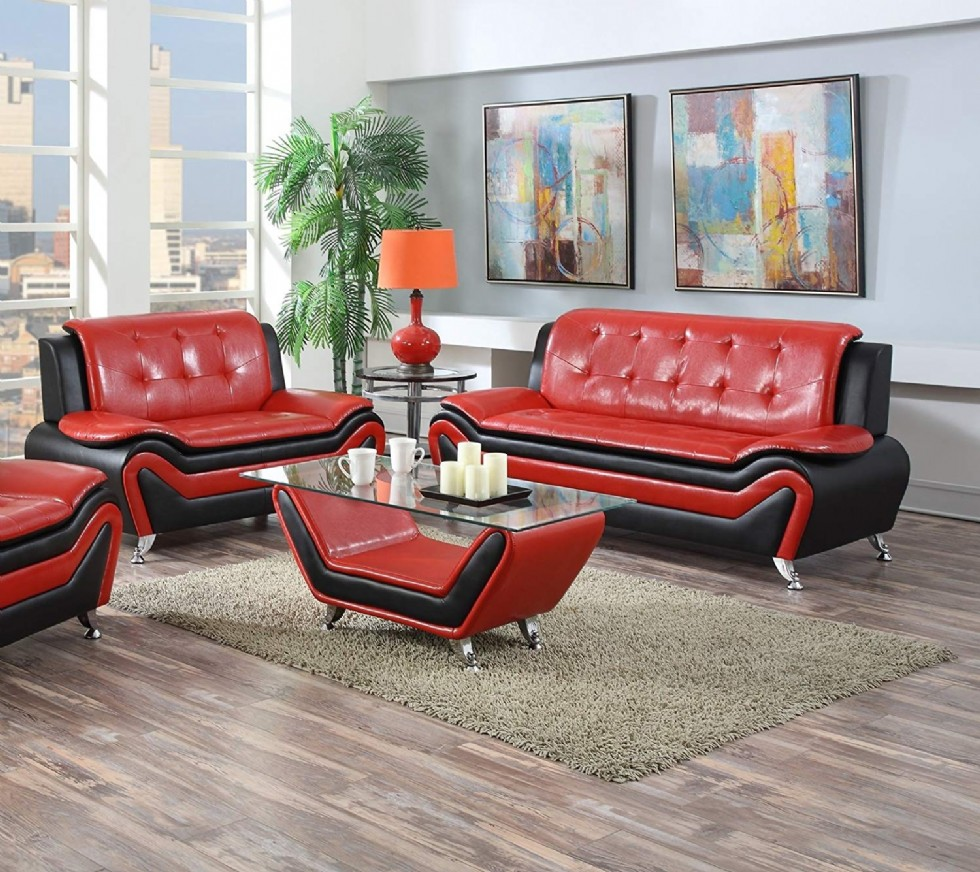 Modern Bonded Leather Sofa Set with Sofa and Loveseat, Red/Black