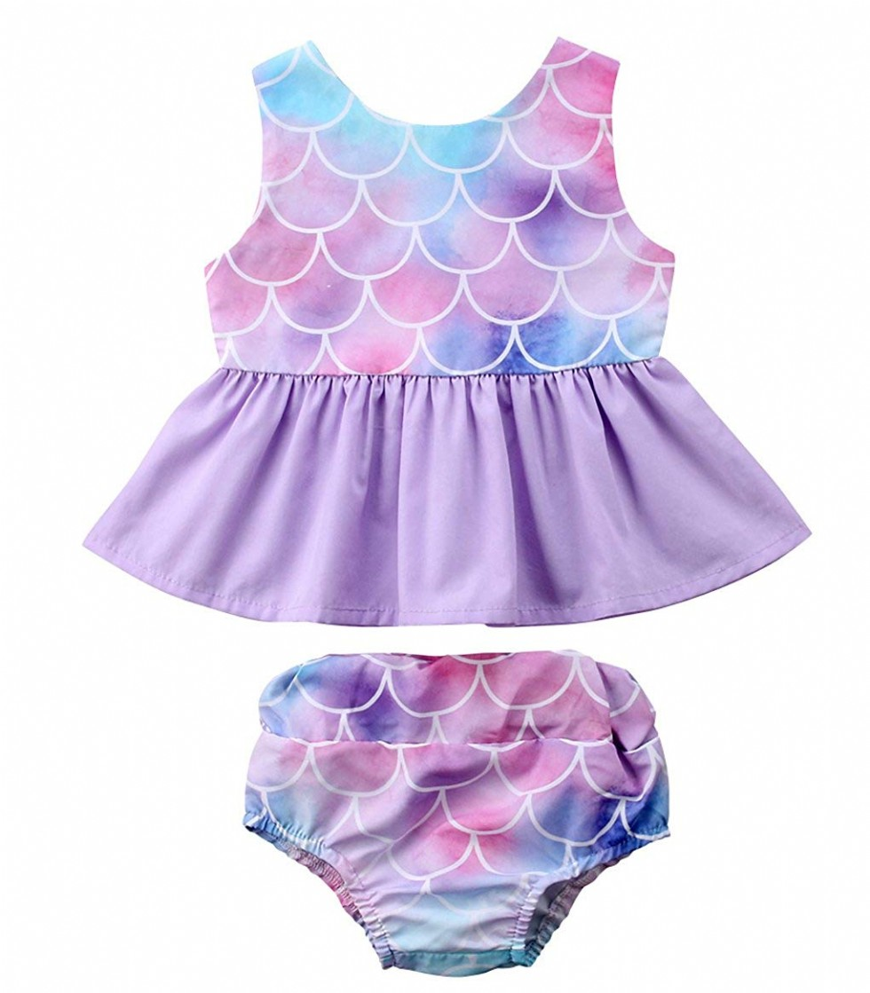 Newborn Baby Girl Clothes Mermaid Fish Scale Tutu Ruffle Dress with Shorts Pants Toddler Infant Little Kid Girls Outfits