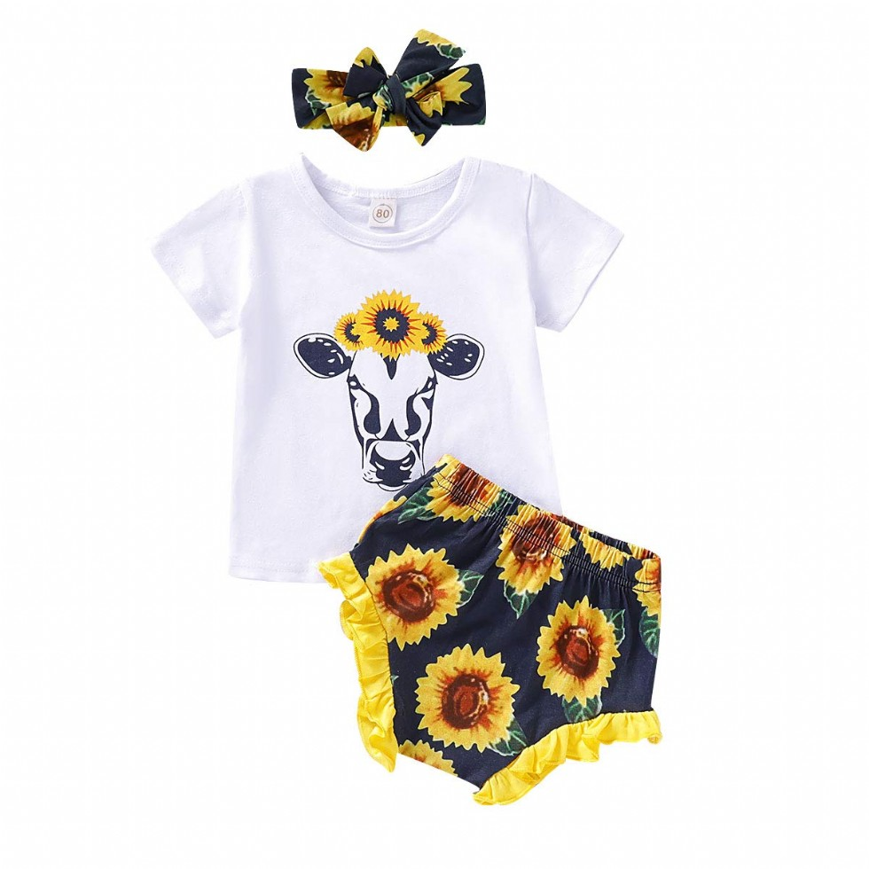 Newborn Baby Girl Clothes Sunflower Wild Ox Romper + Floral Pants with Headband 3Pcs Fall Outfit Set 0-18Months