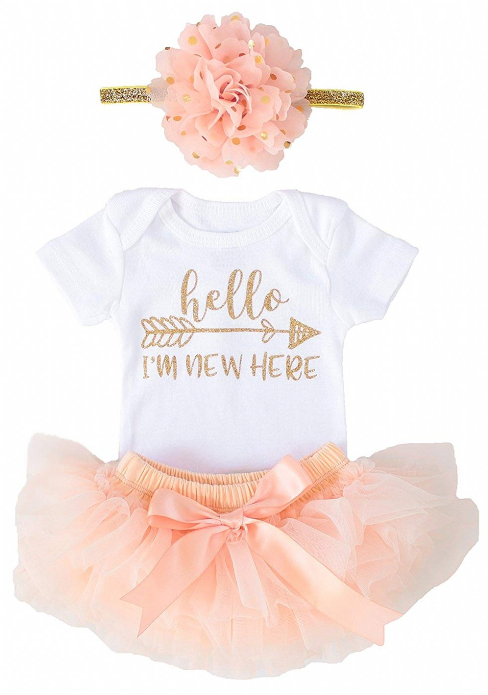 Newborn Baby Girl Coming Home Outfit Hello I am New here Bodysuits