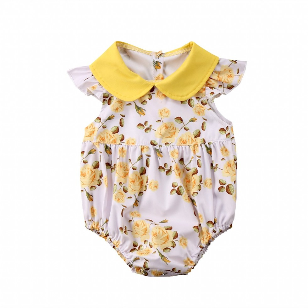 Newborn Baby Girl Outfit Yellow Rose Floral Romper Princess Button Bodysuit Clothes