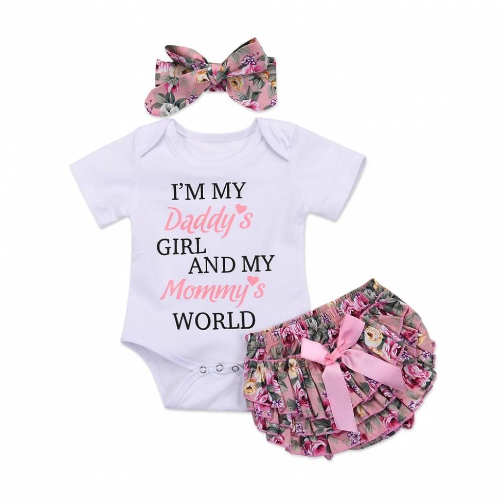 Newborn Baby Girl Romper Jumpsuit Bodysuit, Pants Shorts, Headband Outfit Set