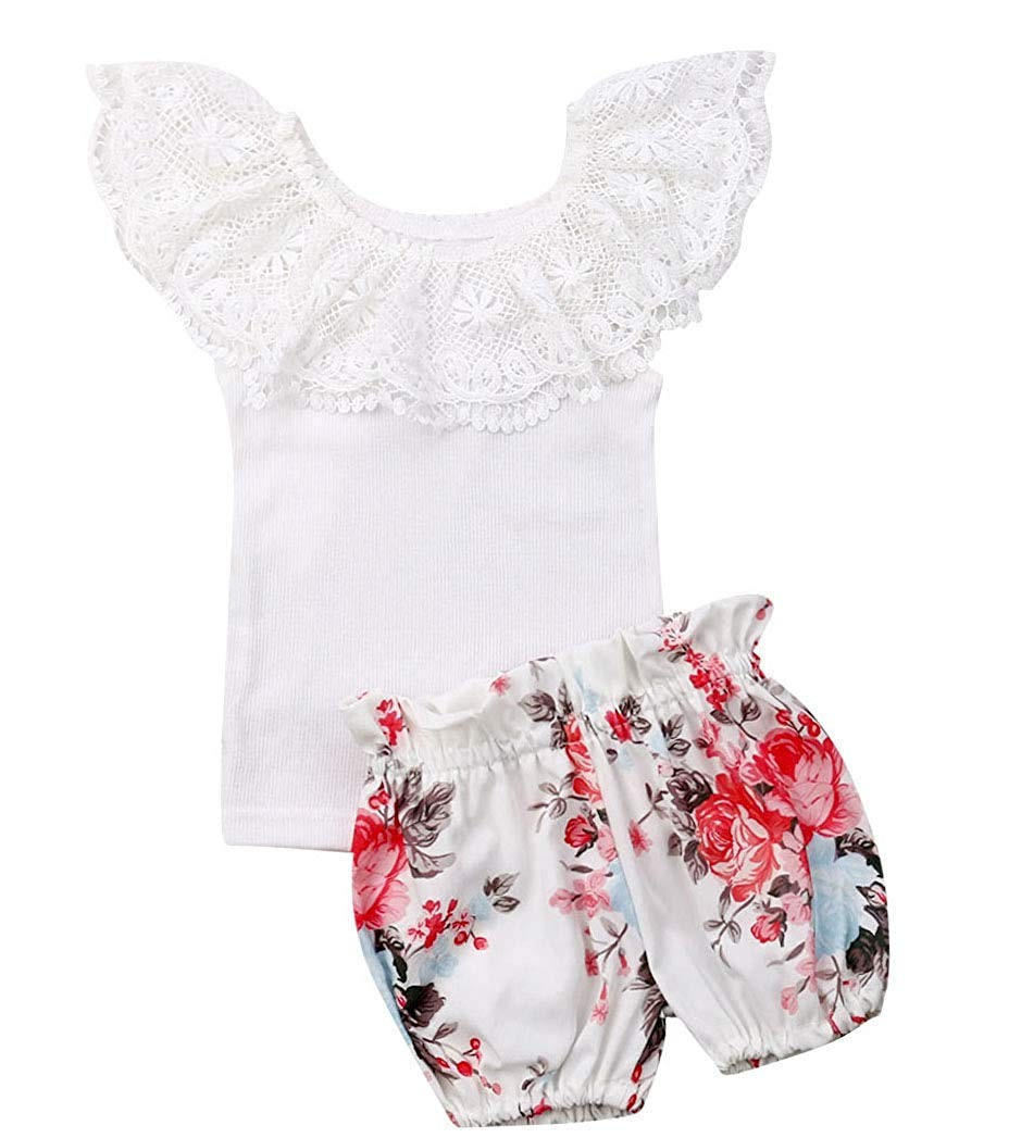 Newborn Baby Girls Off Shoulder Lace Tops Shorts Dress 2Pcs Party Outfit Set Clothes