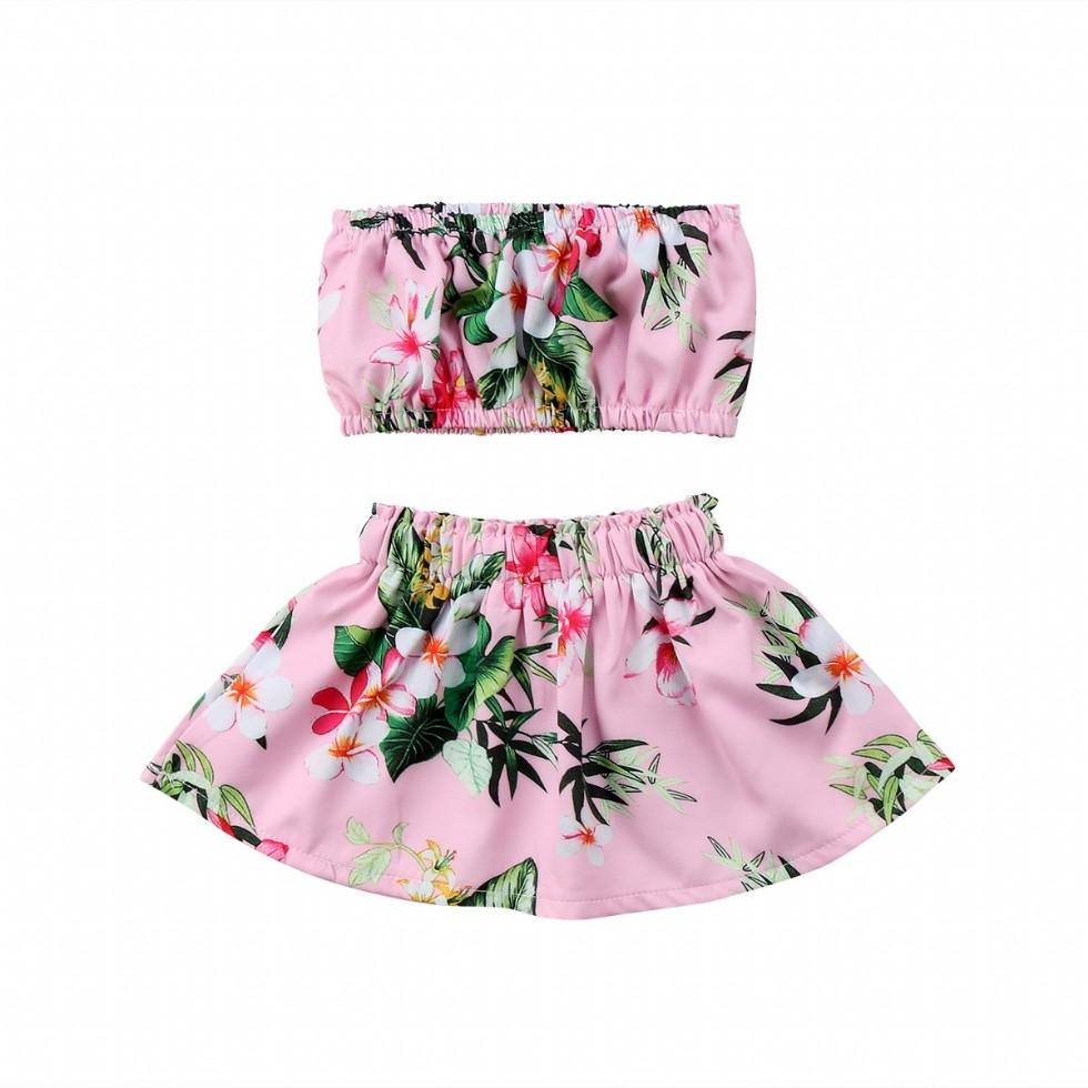 Newborn Baby Girls Outfit Floral Crop Top Skirt Summer Clothes Set