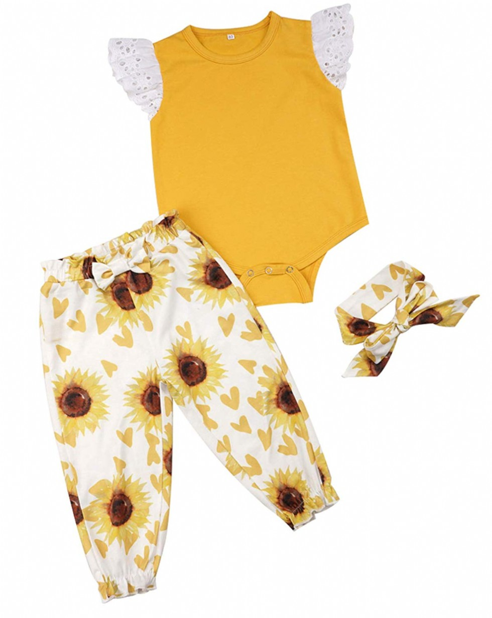 Newborn Baby Girls Sunflower Outfit Isnt She Lovely Romper Sunflower Pants and Headband 3Pcs Clothes Set