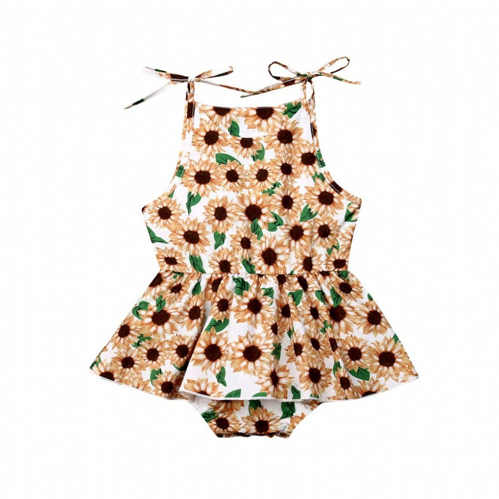 Newborn Infant Baby Girl Sunflower Print V Neck Sleeveless Backless Romper Tutu Dress Bodusuit