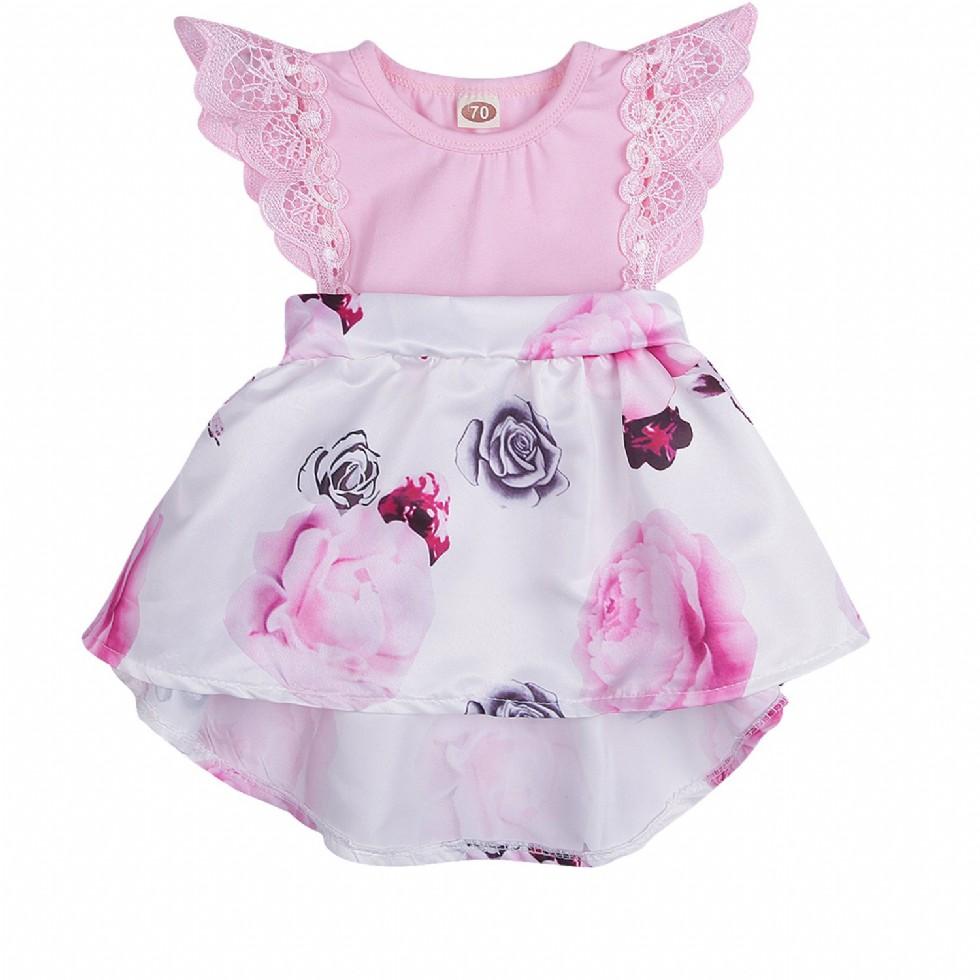 Newborn Infant Baby Girls Floral Dress Flutter Sleeve Skirts Ruffle Dresses Fall Outfits